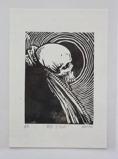"Godmachine ""Raised By Wolves"" Limited Edition Lino Block Print Skull Dark Art Lino Art, Woodcut Art, Linocut Prints, Stencil, Tarot, Graphic Design Posters, Gravure, Skull Art, Dark Art"