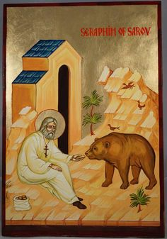 High quality hand-painted Orthodox icon of St Seraphim and the Bear. BlessedMart offers Religious icons in old Byzantine, Greek, Russian and Catholic style. Greek Icons, Church Icon, Paint Icon, Russian Icons, Byzantine Icons, Roman History, Orthodox Icons, Ancient Aliens, Religious Art