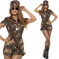 Mujer Militar Disfraz Para Niña Soldado Uniforme Camuflaje Traje + Sombrero