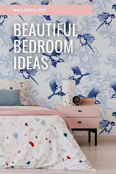 Bring texture to dark and moody walls with this beautiful, new dark floral wallpaper. Create a custom wall mural for your home and fill in our online order form to specify your wall's dimensions. We have two types of paste the wall wallpaper: classic and premium. We also have a self-adhesive wallpaper called peel and stick. Get this stunning blue Lovebirds wallpaper mural for your home! Find out more from Wallsauce! #wallpaper #wallmural Oriental Wallpaper, Vintage Style Wallpaper, Feature Wall Bedroom, Beautiful Bedrooms, Blue Wallpapers, Custom Wall Murals, Mural Wallpaper, Inspirational Wallpapers, Popular Wallpaper