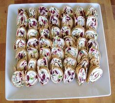 Party Appetizer – Sweet & Savory Pinwheels: cream cheese, feta, green onions, and cranberries in a whole wheat tortilla
