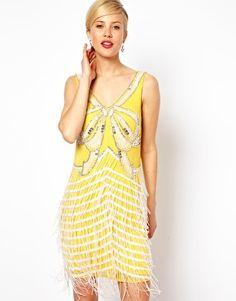 ASOS Shift Dress With Embellished Fringing