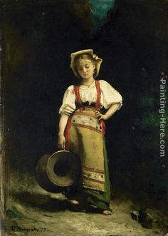 Italian Girl with a Jug Painting by Leon Bonnat