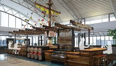 The Captain Morgan cocktail bar, built in the shape of a large pirate ship, are among the restaurant options being considered. TAMPA INTERNATIONAL AIRPORT