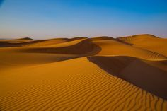 Beautiful sand dunes in Dubai with gorgeous color contrasts.