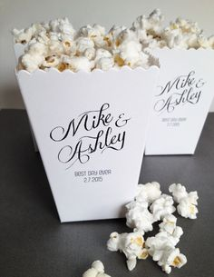 Mini Popcorn Box Wedding Favor Printed Matte by ericksondesign