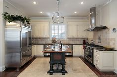 "LIke "" Antique White Kitchen/ beige stone back splash - Gourmet Kitchen Design #31 (Kitchen-Design-Ideas.org)"