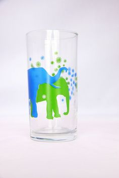 Cute vintage blue and green elephant drinking glass by hipposdream, €13.00