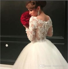 formal branco / marfim vestido de baile vestidos de noiva pura verão mangas compridas vestidos de noiva brilhante