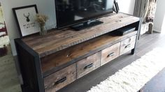 Rustic Entertainment Unit by PRBWoodFurniture on Etsy
