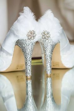 Crystal and feather heel x