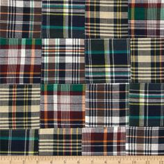 "Madras Plaid Navy/White/Green from @fabricdotcom  This yarn-dyed cotton Madras fabric has 3"" X 3"" assorted plaid squares pre-sewn together. It is perfect for spring and summer apparel such as shorts, pants, dresses, skirts and lightweight jackets."
