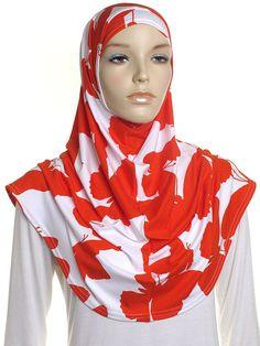Rot weiß Schmetterling Drucken Al Amira Hijab / bereit für