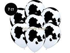 cow print latex balloons - set of 7 Cow Birthday, Cowboy Birthday Party, Cowgirl Birthday, Birthday Balloons, First Birthday Parties, Birthday Party Themes, Birthday Ideas, Barnyard Party, Farm Party