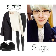 Suga Selca w/ Glasses by btsoutfits on Polyvore featuring J Brand, H&M, Converse and Retrò