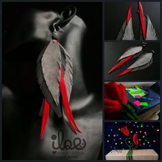 ilzeBoutique shared a new photo on Etsy Diy Leather Feather Earrings, Diy Earrings, African Grey Parrot, Colorful Feathers, Pretty Box, Just Giving, Svg Files For Cricut, Cricut Ideas, Leather Craft