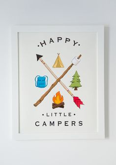 """Happy Little Campers"" Printable wall art perfect for decorating in the nursery or child's room."