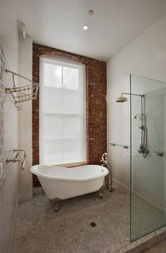 Walk-In Shower with Claw-Foot Bathtub    *swoon*
