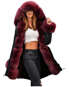 2018 Winter Luxury Wine Faux Fur Thick Hood Parka Long Down Jacket Women Coat Loose Warm Female Plus Size Military Outwear 36 Long Jackets, Jackets For Women, Parka Jackets, Unisex Fashion, Womens Fashion Online, Best Parka, Capelet Dress, Faux Fur Parka, Trench Jacket