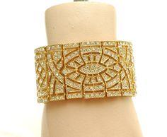 Gold Wedding Bracelet Bridal Art Deco Cuff by AyansiWeddingDesigns