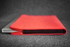 Cistercian II / Landscape / Red / Laptop Felt and Leather Folio Case Hand-made