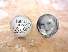 Custom Photo Father of the Bride Cuff Links Silver Photo Cuff Links Gifts for Dad Wedding Cufflinks Picture Cuff Link Fathers Day Keepsake1 pair of custom cuff links for the Father of the Bride.Put your favorite photo (or photos) on a unique pair of silver plated cuff links. Cuff links are approximately 20mm in diameter (3/4 inch). Bright silver plated over brass cuff links. Your high quality printed custom photo(s) sit behind a thick glass bevel inside of a bright silver plated cuff link...
