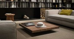 Sofa with low seats coffee table Solid wood christophe pillet design