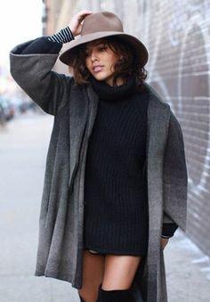 trop rouge by Christina Caradona.  turtle neck sweater, jacket, hat, shorts