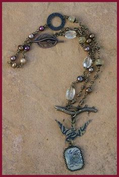 Flying Home Necklace with Freshwater Pearls by SunshinyDayJewelry, $68.00