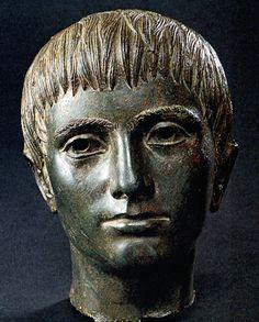 """Portrait of a Boy; Etruscan; Bronze sculpture; Height 9"""""""