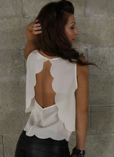 Off-white Party Top - Open Back Scalloped Tank (Ivory)