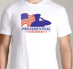 Presidential Soldier Salute 100% cotton Size: X-Small, Small, Medium, Large,  X-Large, 2XL, 3XL, 4XL Color: Red, White, Blue, Grey, Black Check our our Zazzle Shop Price: $21.99