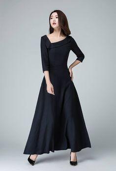 prom dress maxi dressLinen dress Black dress party by xiaolizi