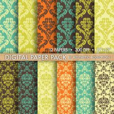 Orange Blue Green Brown Damask Printable Background Digital Paper for Personal or Commercial Use Digital Collage Sheets - 12 Sheets - 12383. $3.00, via Etsy.
