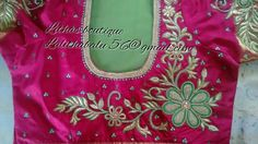 Wedding Embroidery, Floral Embroidery, Embroidery Patterns, Machine Embroidery, Wedding Saree Blouse Designs, Wedding Blouses, Pink Saree Blouse, Maggam Work Designs, Blouse Back Neck Designs