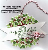 """Handmade gift tag using Stampin' Up! products - Wondrous Wreath Photopolymer Set, Wonderful Wreath Framelits, Baker's Twine, 2-1/2"""" Circle  Punch, and Nordic Designer Buttons.  By Michele Reynolds, Inspiration Ink, http://inspirationink.typepad.com/inspiration-ink/2014/12/miscellaneous-gift-tags.html."""