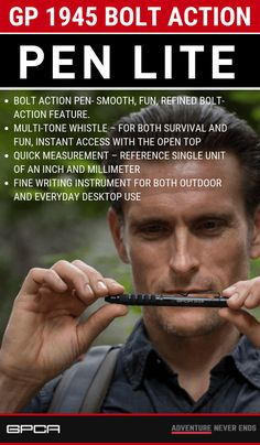 GP 1945 Bolt Action Pen LITE- Free Shipping Now.Most orders ship within 1 business day.Worry-Free Return from a U.S. company #GPCA #survivalgear Cool Truck Accessories, Jeep Wrangler Accessories, Best Camping Gear, Adventure Gear, Cool Trucks, Action, The Incredibles, The Unit, Instant Access