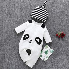 25f1b301 Baby Panda Hat and Jumpsuit Clothing Set 2 Pcs. Baby Boy Or GirlOutfit ...