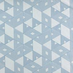 Baumwolle, Aqua mit grafischem Motiv