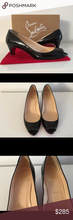 """CHRISTIAN LOUBOUTIN BLACK PATENT LEATHER PUMPS CHRISTIAN LOUBOUTIN BLACK PATENT LEATHER PUMPS, SIZE 38.5, COVERED HEEL 2"""", PEEP-TOE, SIGNATURE RED LEATHER OUTSOLE, NO SIGNS OF WEAR ABOVE SOLES, GENTLY USED IN EXCELLENT CONDITION, COMES WITH ORIGINAL BOX AND DUST BAG. Christian Louboutin Shoes Heels"""
