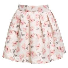 Pink Floral Flare Skirt ❤ liked on Polyvore featuring skirts, pink skirt, pink circle skirt, flare short skirt, skater skirt and circle skirt