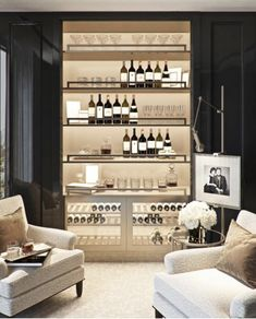 Home Interior Lighting Who doesnt need a wine room in their house? I love this design! Im just sitting here like. which room in our new house dont we Bar En Palette, Bar Sala, Home Wine Cellars, Wine Cellar Design, Luxury Bar, Home Bar Designs, Bars For Home, Decor Interior Design, Interior Lighting