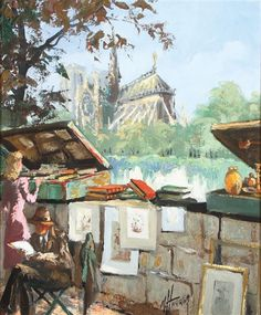 Artwork by Marcel Harang, Paris Street Scenes in Spring, Made of Oil on canvas