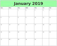 34 best january 2019 printable calendar images