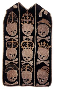 Catholic Vestment with crowned skulls