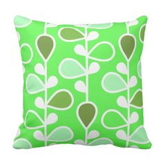 Throw with green and white retro pattern. Outdoor Throw Pillows, Decorative Throw Pillows, Retro Flowers, Retro Pattern, Floral, Green, Modern, Accent Pillows, Trendy Tree