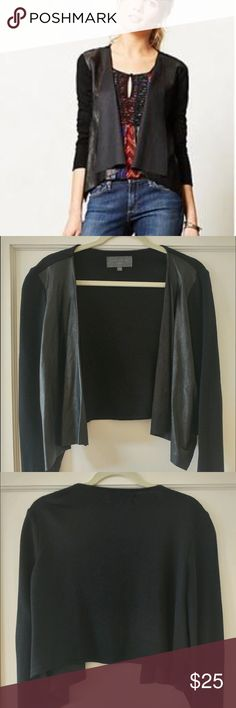 """Anthropologie Faux Leather Front Cardigan Drapey black cardigan with faux leather panels on the front. Sleeves are a thick matte fabric. Goes beautifully over a light tank. From Anthropologie by brand """"Summer in Brooklyn."""" In great condition. Anthropologie Sweaters Cardigans"""
