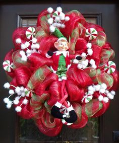 Christmas Mesh Wreath Christmas Wreaths Candy by LuxeWreaths