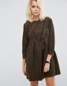 Buy it now. ASOS Cord Smock Dress with Ruffle Detail in Forest Green - Green. Dress by ASOS Collection, Pure-cotton cord, Round neckline, Ruffle trim, Raw-cut edges, Zip-back closure, Smock design, Loose fit - falls loosely over the body, Machine wash, 100% Cotton, Our model wears a UK 8/EU 36/US 4 and is 168cm/5'6 tall. ABOUT ASOS COLLECTION Score a wardrobe win no matter the dress code with our ASOS Collection own-label collection. From polished prom to the after party, our London-based…