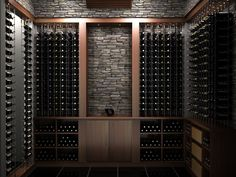 Transitional wood custom wine cellar featuring the Cable Wine System.